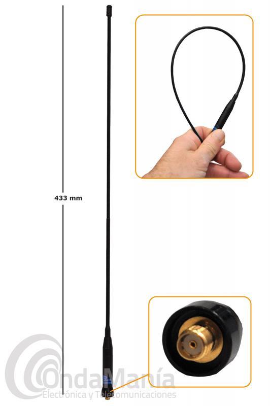 ANTENA DOBLE BANDA VHF-UHF D-ORIGINAL DX-SRH-771-R-SMAF CON CONECTOR SMA HEMBRA - FEMALE