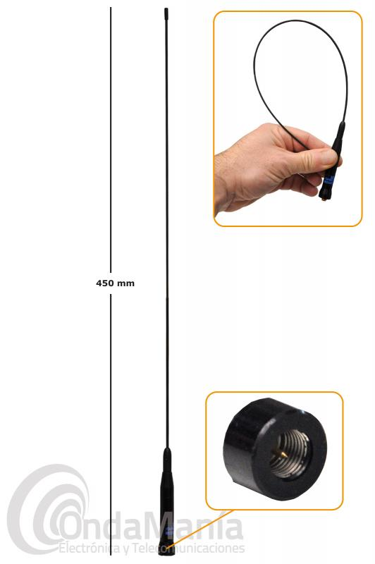 ANTENA SUPER-FLEXIBLE DOBLE BANDA VHF-UHF D-ORIGINAL DX-SRH-500-S CON CONECTOR SMA MACHO