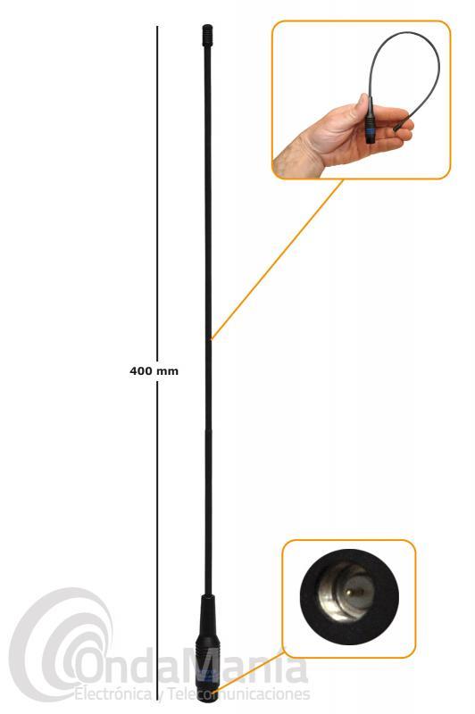 ANTENA DOBLE BANDA VHF Y UHF FLEXIBLE CON CONECTOR SMA MACHO RH-771 SMA