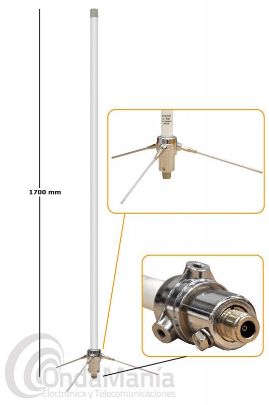 X-50-N ANTENA DE FIBRA DOBLE BANDA UHF/VHF