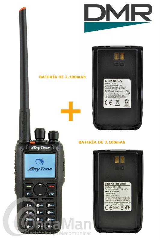 ANYTONE AT-D868UV WALKI BIBANDA DIGITAL DMR Y ANALOGICO+GPS+BATERIA ADICIONAL+REGALO ELIMINADOR BAT. - SUSTITUIDO POR EL ANYTONE  AT-D878UV.. Pack compuesto por un Anytone AT-D868UV GPS es un walki talky digital DMR y analógico doble banda con GPS, dispone de  hasta 250 IDs personales, hasta 160.000 contactos digitales, hasta 250 zonas, batería de litio de alta capacidad con 3100 mAh, 7 W de potencia en VHF y 6 W en UHF, pantalla TFT a color, admite Tier I y Tier II,...+ una batería opcional con 2100 mAh.