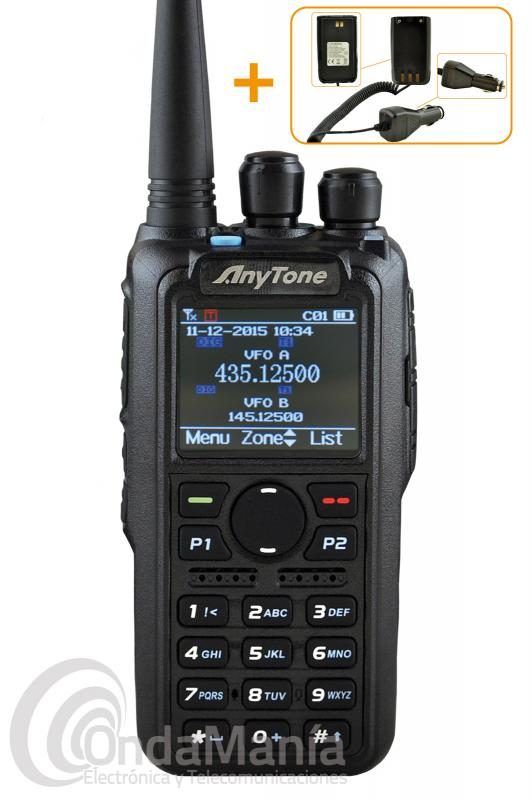 WALKIE DMR ANYTONE AT-D878UV BIBANDA DIGITAL Y ANALOGICO CON ROAMING,...+PINGANILLO O MIC-ALTAVOZ