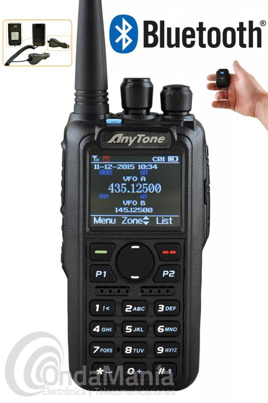 WALKI DMR ANYTONE AT-D878UV PLUS BLUETOOTH BIBANDA DIGITAL Y ANALOGICO+PINGANILLO O MIC-ALTAVOZ - Walkie DMR Anytone AT-D878UV PLUS con módulo Bluetooth incluido, ELIMINADOR DE BATERIA DE REGALO!!, doble banda UHF/VHF digital DMR y analógico con GPS incluido, APRS analógico y digital, Roaming, dispone de hasta 250 iDs personales, 150.000 contactos digitales, hasta 250 zonas, 4000 memorias, raio FM comercial,... tiene una potencia máxima de 7 W en VHF y de 6 W en UHF, incluye batería de ion-litio de alta capacidad con 3100 mAh.