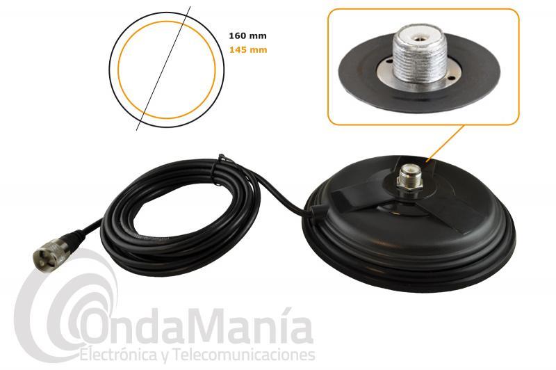 BASE MAGNETICA BM-160 MM CON CONECTOR PL - Base magnética con conector PL, tiene un diámetro de 16 cm en caucho con 4 metros de cable RG-58 y  un conector PL macho en su extremo, incluye goma protectora en la parte baja.
