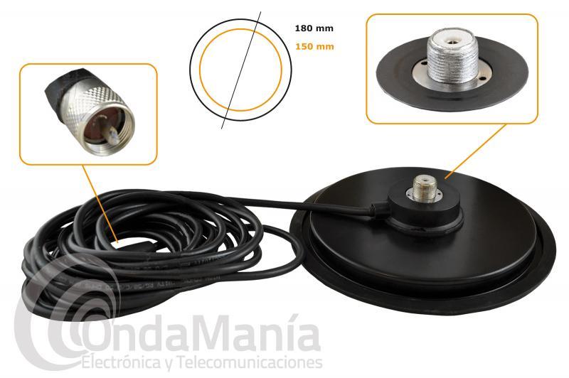 BASE MAGNETICA BM-180 MM CON CONECTOR PL - Base magnética con conector PL, tiene un diámetro de 18 cm en caucho con 4 metros de cable RG-58 y  un conector PL macho en su extremo, incluye goma protectora en la parte baja.