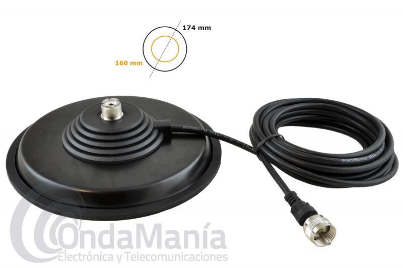 TELECOM BM-160PL BASE MAGNETICA PL - Base magnética extraplana con conector PL, tiene un diámetro de 16 cm en caucho con 4 metros de cable RG-58 y  un conector PL macho en su extremo, incluye goma protectora en la parte baja.