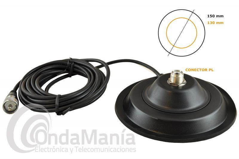 BASE MAGNETICA CON CONECTOR PL CRT BM-145 - Base magnética con conector PL y un diámetro interno de 145 cm, incluye 4 mts aprox. de cable RG-58 y un conector PL macho en su extremo