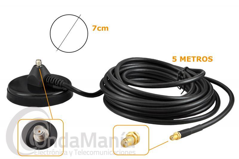 BASE MAGNETICA KOMUNICA BK-700-SMAF CON 7 CM DE DIAMETRO Y CONECTORES SMA MACHO Y SMAF