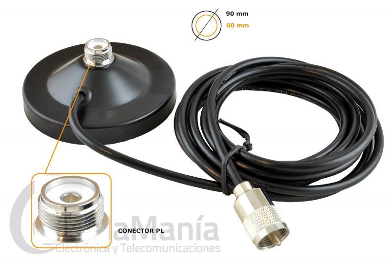 TELECOM RB-MJPS BASE MAGNETICA CON CONECTOR PL Y 90 CM DE DIAMETRO - Base magnética con conector PL , con un diámetro de 90 mm, 3 mts de cable RG-58 con un PL macho en su extremo.