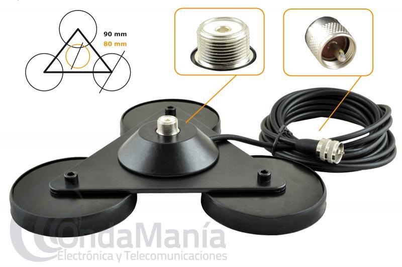 MIRMIDON BM-360 TRIPLE MAG BASE MAGNETICA TRIPLE 3X90 CON CONECTOR PL