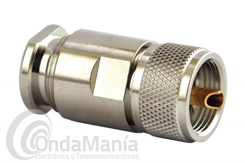 UHF-SPEZIAL CONECTOR PL DE BAJA PERDIDA CON VIVO DORADO COMPATIBLE CON RG-213, AIRCOM, RG-214,...