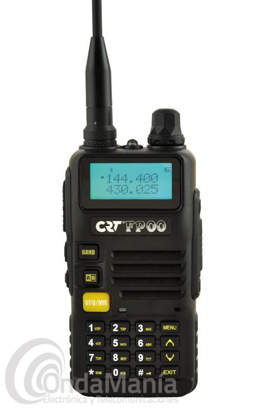 CRT FP00 WALKIE DOBLE BANDA UHF/VHF CON RADIO COMERCIAL DE FM - El CRT FP00 es un walki doble banda UHF y VHF de reducido tamaño con 5 W de potencia en VHF y 4 W en UHF, dispone de 128 canales de memoria, radio comercial de FM, linterna led, escaner, tonos CTCSS y DCS, incluye cargador rápido inteligente y batería de ion-litio con 7,2 V y 1600 mAh.