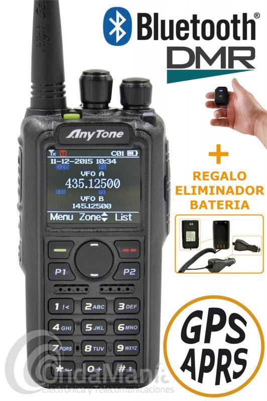 WALKI DMR BI-BANDA ANYTONE AT-D878UV II PLUS BLUETOOTH+ELIMINADOR DE BATERIA+PINGANILLO DE REGALO - Walkie DMR Anytone AT-D878UV II PLUS con módulo Bluetooth incluido, doble banda UHF/VHF, digital DMR true 2 slot cumpliendo con Motorola Tier I y II, analógico con GPS incluido, APRS analógico y digital, Roaming, 4000 canales, 10.000 grupos de conversación DMR, 500.000 contactos digitales, 250 zonas, hasta 250 iD personales, dispone  tiene una potencia máxima de 7 W en VHF y de 6 W en UHF, incluye batería de ion-litio de alta capacidad con 3100 mAh, cargador rápido de sobremesa,... REGALO PINGANILLO + ELIMINADOR DE BATERIA + PORTE GRATIS!!!