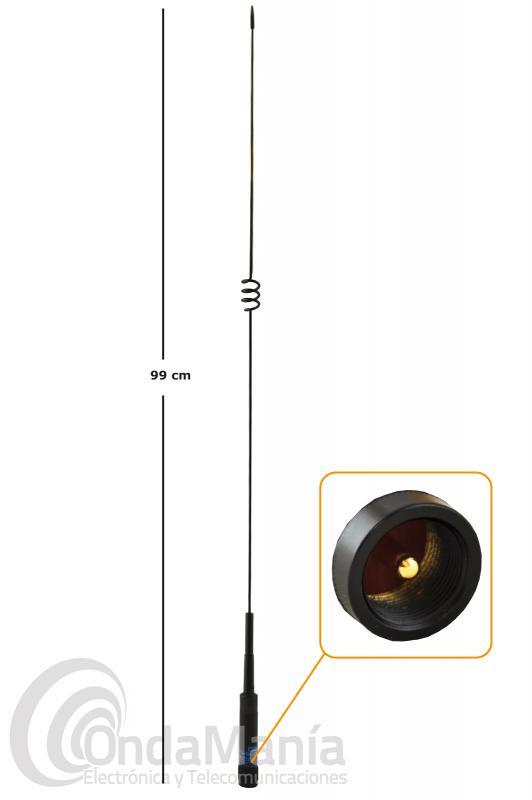 ANTENA DOBLE BANDA UHF Y VHF PARA MOVIL NEGRA CON CONECTOR PL D-ORIGINAL DX-NR-770HB
