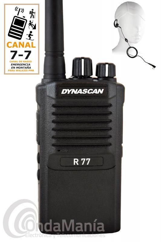 DYNASCAN R-77 ESPECIAL CANAL MONTAÑA 7 - 7, PMR-446 DE USO LIBRE + PINGANILLO Y SIN GASTOS DE ENVIO