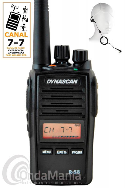 DYNASCAN R-58 ESPECIAL CANAL MONTAÑA 7 - 7, PMR-446 DE USO LIBRE CON RADIO FM+PINGANILLO DE REGALO