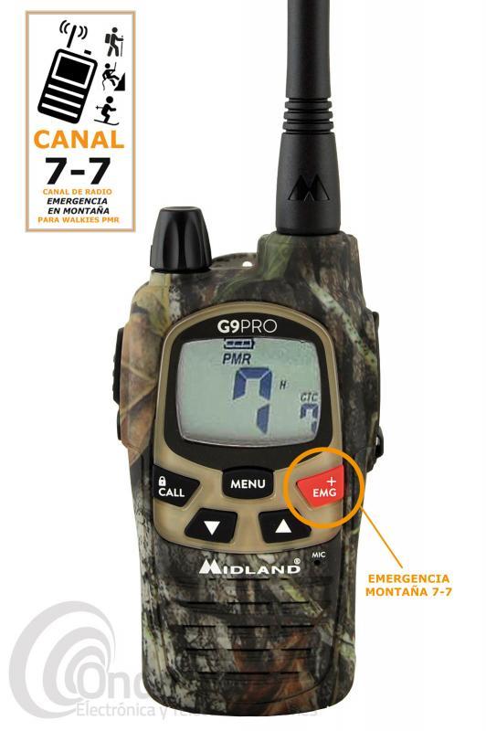 MIDLAND G9 PRO MIMETIC  ESPECIAL CANAL MONTAÑA  + PINGANILLO - BOTON EMERGENCIA QUE ENLAZA CON LOS DEMAS G9 PRO! El walki talky de uso libre PMR-446 Midland G9 PRO MIMETIC versión ESPECIAL MONTAÑA es un walkie PMR-446 de uso libre recomendado para su uso en senderismo, escalada, skitravesia, BTT, barranquismo, geocachig o cualquier actividad relacionada en el monte, montaña,... incluye el canal de radio utilizado en montaña 7 - 7 con el que vas a poder coordinarte dentro de un grupo. En el canal 7 - 7 podemos recibir o solicitar ayuda de otros montañeros, recibir o emitir información del entorno, comunicarte con grupos de rescate,....  El Midland G9 PRO MIMETIC  es una evolución natural de su antecesor el Midland G-9, el G-9 PRO nos ofrece una pantalla un 30% más grande, un 30% de audio mejorado, una antena más potente y un PTT doble que permite seleccionar las potencias alta y baja al instante, la comunicación se vuelve más fácil y agradable.