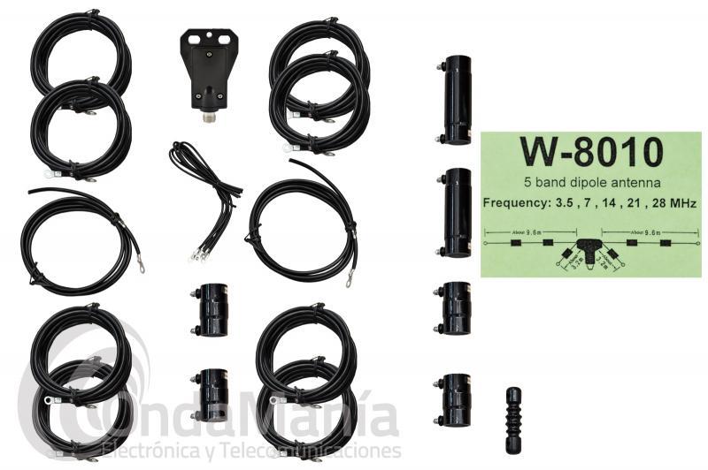 W-8010 DIPOLO DE HF CON 5 BANDAS 3.5, 7, 14, 21, 28 MHZ Y 500 W DE POTENCIA MAXIMA
