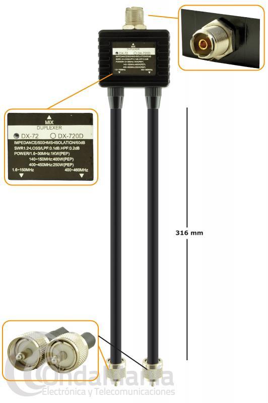 DUPLEXOR JS-DX-72 DE  1,6 a 150 MHZ Y 400 A 460 MHZ CON CABLES Y CONECTORES PL
