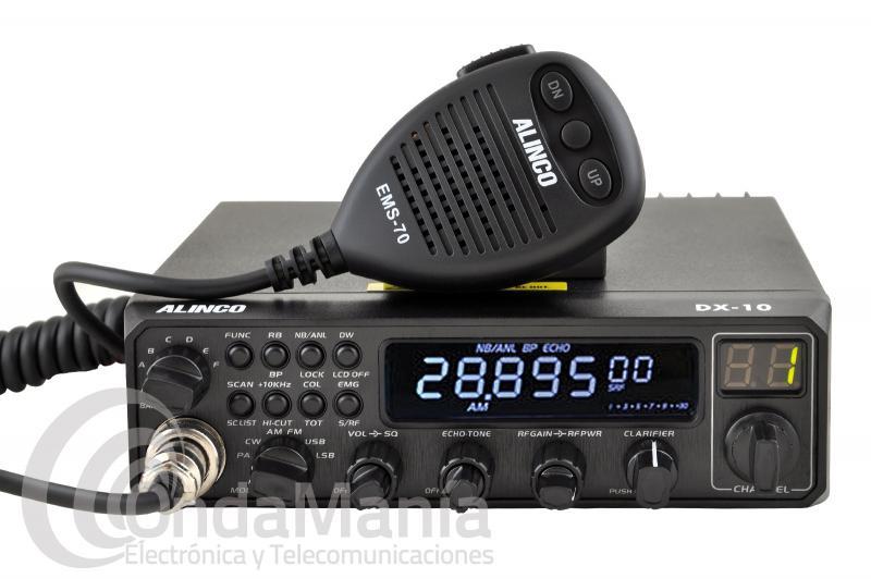 ALINCO DX-10 EMISORA 10 MTS MULTI MODO, 60 MEMORIAS, 25 W MAX. DE POTENCIA - El Alinco DX-10 es un transceptor de 10 metros compacto y multimodo con AM, FM, LSB, USB y CW, dispone de potencia ajustable de 0 a 25 W en SSB y de 1 a 12 W en AM, FM y CW, dispone de 60 memorias, medidor de ROE,....