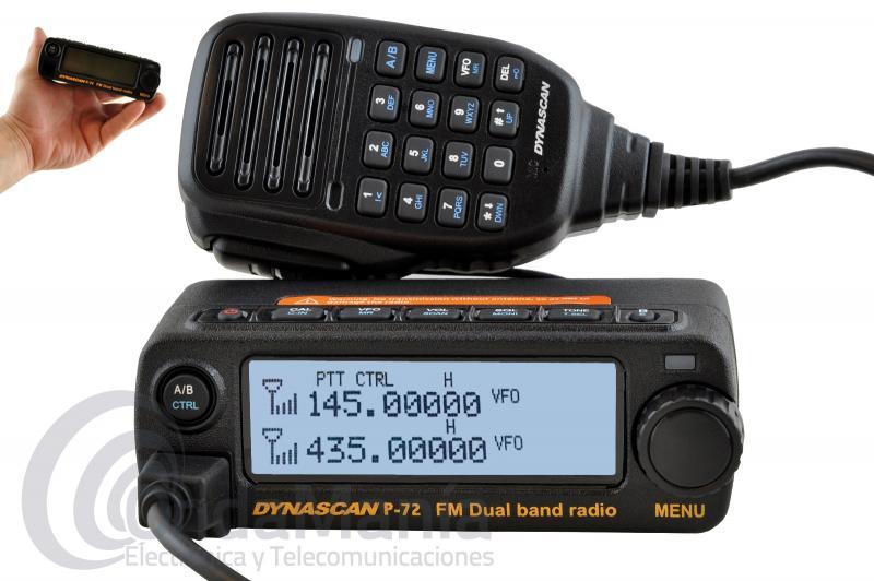 DYNASCAN P-72 EMISORA ULTRA COMPACTA DOBLE BANDA UHF/UHF FULL DUPLEX, 20 W DE POTENCIA - OFERTA HASTA FIN DE STOCK!!! Emisora doble banda UHF/VHF de reducido tamaño Full Duplex con radio FM comercial y 20 W de potencia, dispone de 255 canales de memoria, su micrófono dispone de altavoz y dispone de teclado para poder manejar parte de la emisora, dispone de tonos CTCSS y DCS, display retroiluminado,....