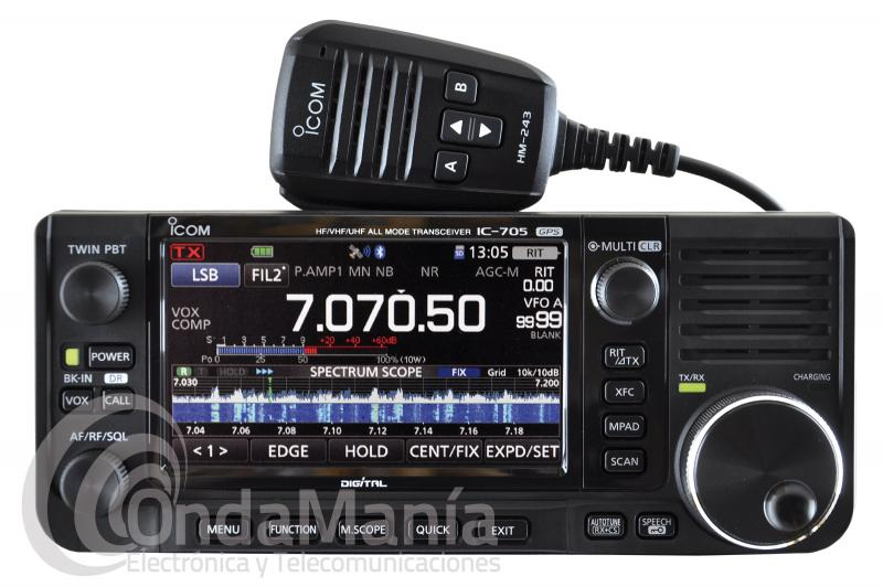 ICOM IC-705 TRANSCEPTOR MOVIL, BASE O PORTABLE DE HF, 50, 144 Y 430 MHZ MULTI MODO