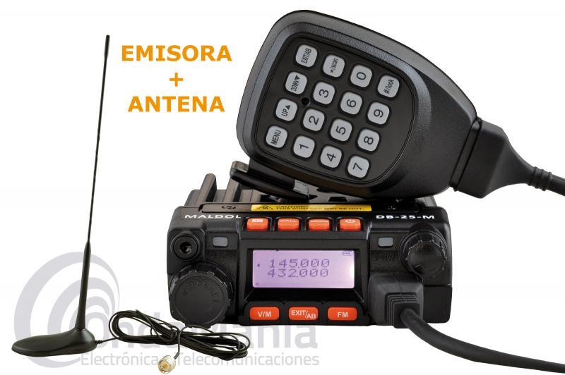 MALDOL DB-25M EMISORA MOVIL DOBLE BANDA VHF Y UHF+ANTENA TORNADO MAGNETICA VHF/UHF - Equipo doble banda de reducido tamaño con 25 W de potencia, 200 canales de memoria, incluye tonos CTCSS, DCS, 5 Tone, 2 Tone, DTMF y de regalo una antena doble banda Tornado Magnética VHF/UHF.
