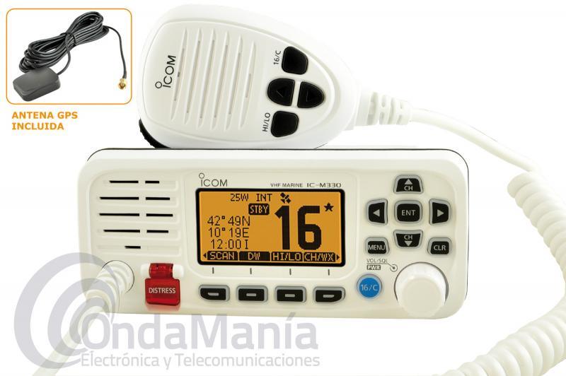 ICOM IC-M330GE EMISORA MARINA BLANCA DE VHF ULTRA COMPACTA DE ALTO RENDIMIENTO CON 25 W Y GPS