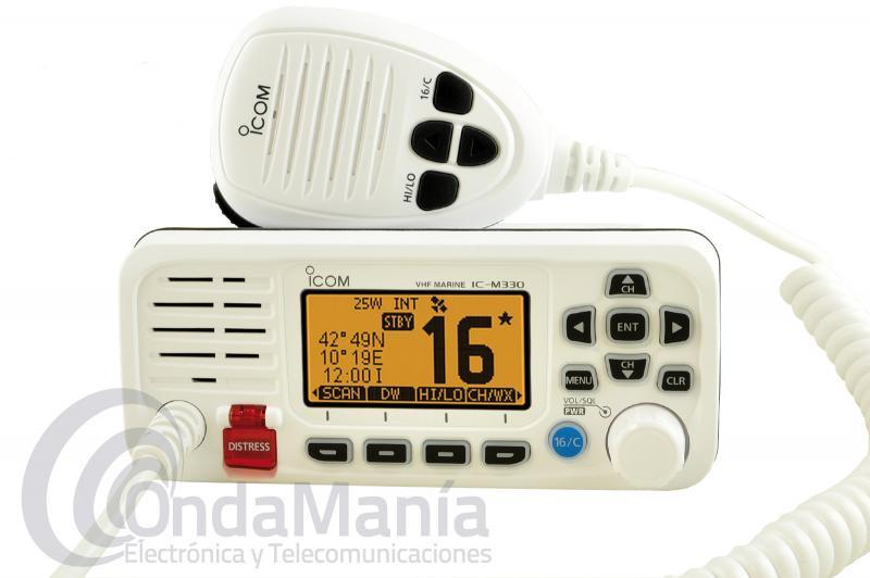 ICOM IC-M330E EMISORA MARINA BLANCA DE VHF ULTRA COMPACTA DE ALTO RENDIMIENTO CON 25 W Y SIN GPS