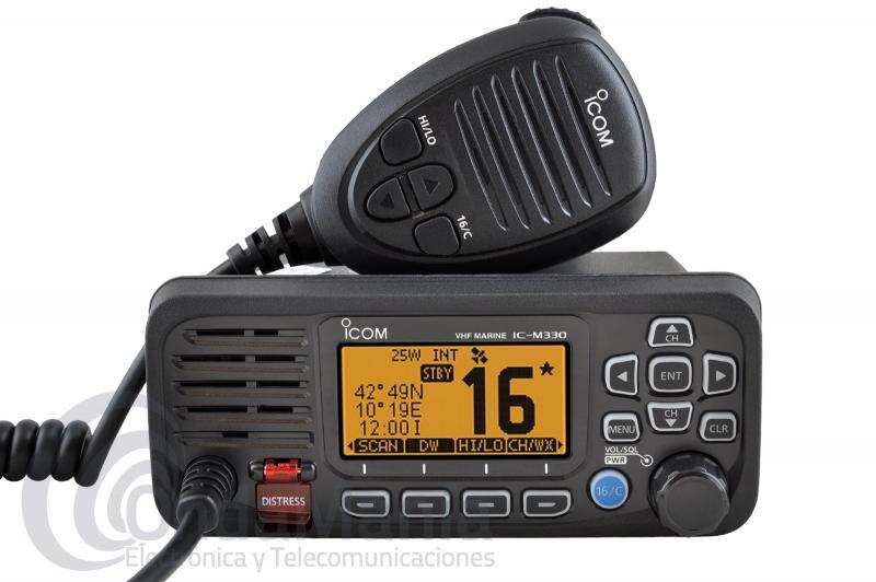 ICOM IC-M330E EMISORA MARINA NEGRA DE VHF ULTRA COMPACTA DE ALTO RENDIMIENTO CON 25 W Y SIN GPS