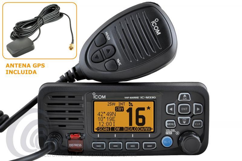 ICOM IC-M330GE EMISORA MARINA NEGRA DE VHF ULTRA COMPACTA DE ALTO RENDIMIENTO CON 25 W Y GPS