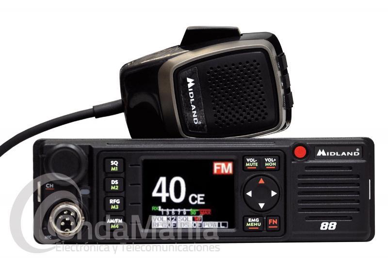 EMISORA DE BANDA CIUDADANA CB-27 MIDLAND 88 CON AM Y FM, 12/24 V, PANTALLA TFT MULTICOLOR,....