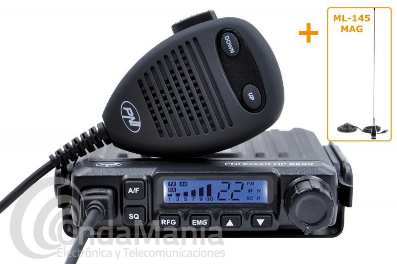PACK COMPUESTO POR MINI EMISORA DE CB-27 PNI ESCORT HP-6500+ANTENA MAGNETICA PNI ML-145 MAGNETICA