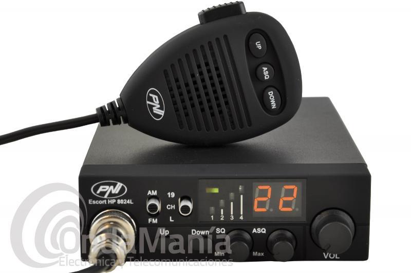 EMISORA DE BANDA CIUDADANA 27 MHZ PNI ESCORT HP-8024 ASQ CON 40 CANALES EN AM Y FM - Emisora de banda ciudadana CB 27 PNI ESCORT HP8024 ASQ con 40 canales en AM y FM, squelch automático, una tensión de entrada de 12 y 24 V, toma de encendedor, conmutador directo de acceso a canales 9 y 19, micrófono con subida y bajada  de canales, toma trasera para altavoz exterior,...