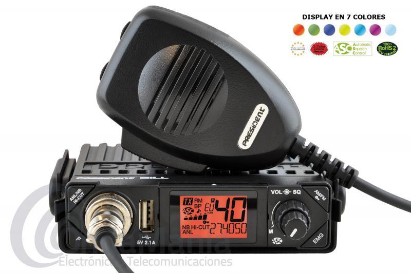 PRESIDENT BILL ASC MINI EMISORA DE BANDA CIUDADANA CB 27 MHZ CON AM Y FM - Mini emisora de banda ciudadana 27 Mhz con AM y FM, toma frontal USB 5V / 2.1 A, dispone de squelch manual y automático ASC, una gran pantalla LCD multifunción con 7 colores a elegir, roger-beep, filtros ANL, NB y HI-CUT, Micrófono con subida y bajada de canales, multi-norma Europea y adaptada 100 % ROHS 2,....