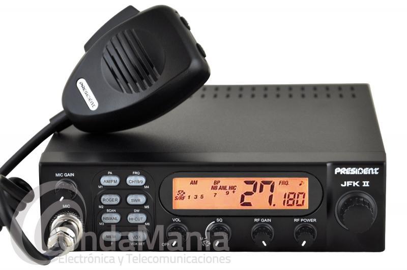 PRESIDENT JFK II ASC EMISORA DE 27 MHZ BANDA CIUDADANA CB - Transceptor de banda ciudadana 27 Mhz con 40 canales en AM y FM, squelch automático y manual, RF power, filtros ANL, NB y HI-CUT, escaner, doble escucha, 6 memorias, medidor de ROE y potencia, roger beep, doble escucha,...