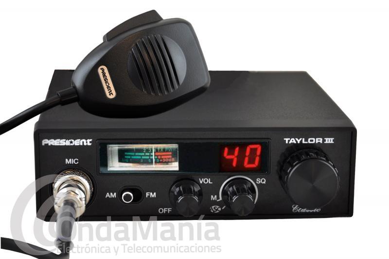 PRESIDENT TAYLOR III ASC - El President Taylor III es la decana de las emisoras de 27 Mhz.con notables mejoras como su color negro, el ASC (squelch automático) y subida/bajada de canales desde el micrófono.