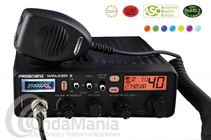 EMISORA DE BANDA CIUDADANA CB27 PRESIDENT WALKER II ASC CLASSIC AM/FM, LCD MULTICOLOR, TOMA USB,....