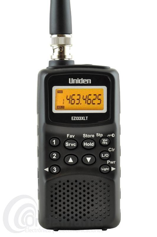 UNIDEN EZI33XLT ESCANER PORTATIL DE 78 A 174 MHZ Y DE 406 A 512 MHZ. - El Uniden EZI33XLT es un escáner portátil de reducido tamaño con una cobertura de 78 a 174 Mhz en VHF con radio comercial FM y banda aérea incluidas y de 406  a 512 MHZ en UHF, dispone de 180 memorias y 3 canales directos, LCD retroiluminado, toma de antena con conector BNC,...