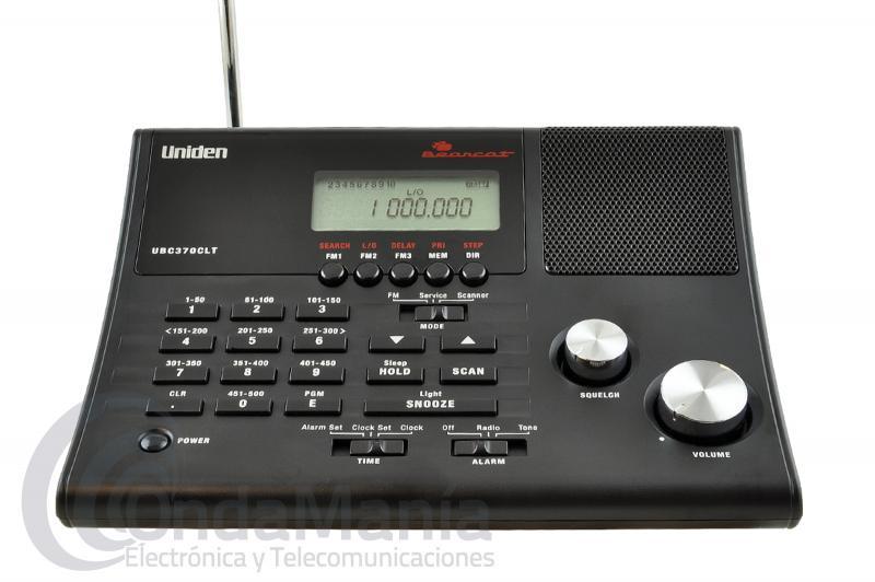 UNIDEN UBC370CLT RECEPTOR ESCANER DE SOBREMESA DE 25 A 960 MHZ CON 500 MEMORIAS - Escáner de sobremesa con una cobertura de frecuencia de 25 a 960 Mhz repartido en 3 bancos: 25 a 173.990, 406 a 512 y 806 a 890 Mhz, incluye 500 canales de memoria alfanuméricos, CTCSS y DCS, memorización por EEPROM, radio comercial FM, banda aérea, banda marina VHF,.....