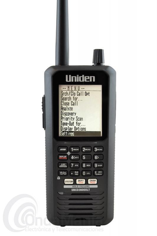 UNIDEN UBCD3600XLT RECEPTOR ESCANER DIGITAL, DMR Y ANALOGICO DE 25 A 1300 MHZ CON BATERIA Y CARGADOR - Receptor escaner portátil con una cobertura de 25 a 512 Mhz, 806 a 960 Mhz, 1240 a 1300 Mhz, recibe y escanea los sistemas digitales trunking APCO 25 fase 1 y fase 2, DMR, Motorola, EDACS, EDACS ProVoice y LTR, así como los canales analógicos convencionales y P25 el receptor incluye accesorios como  baterías de Ni-Mh, cargador de 220V, cargador de coche 12V, adaptador coaxial de antena,....