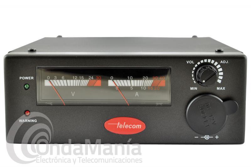 FUENTE DE ALIMENTACION  TELECOM AV-5035-Z EXTRAPLANA Y REGULABLE DE 0 A 24 V. Y CON INSTRUMENTOS