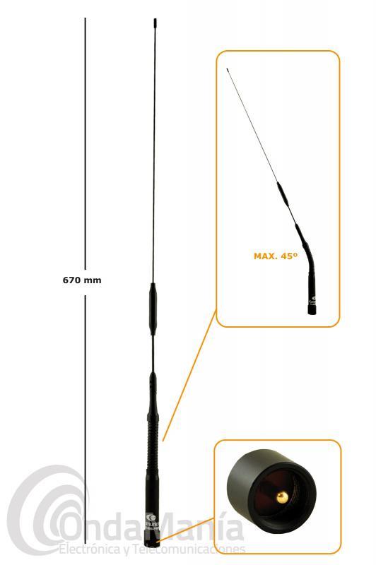 KOMUNICA FX-800-PWR ANTENA DOBLE BANDA UHF-VHF SISTEMA ABATIBLE FLEXO