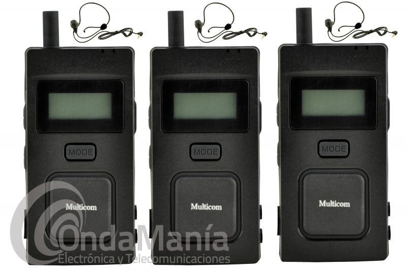 MULTICOM 3 UNIDADES, SISTEMA DE COMUNICACION FULL DUPLEX PARA ARBITROS, RESTAURANTES,..... - Pack de 3 intercomunicadores deportivos Multicom, estos intercomunicadores ofrecen comunicación Full Duplex completa (hablar y escuchar al mismo tiempo) para hasta 5 personas mientras que otras 94 personas pueden escuchar. Sólo tienes que: 1.Encender, 2., Conectar el auricular y 3., Comunicar libremente, sin pulsar ningún botón.