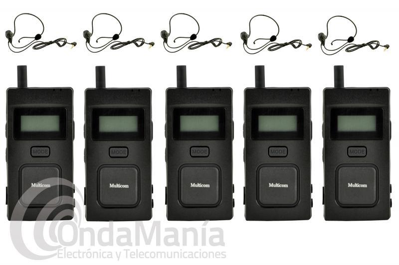 MULTICOM 5 UNIDADES, SISTEMA DE COMUNICACION FULL DUPLEX PARA ARBITROS, RESTAURANTES,..... - Pack de 5 intercomunicadores deportivos Multicom, estos intercomunicadores ofrecen comunicación Full Duplex completa (hablar y escuchar al mismo tiempo) para hasta 5 personas mientras que otras 94 personas pueden escuchar. Sólo tienes que: 1.Encender, 2., Conectar el auricular y 3., Comunicar libremente, sin pulsar ningún botón.