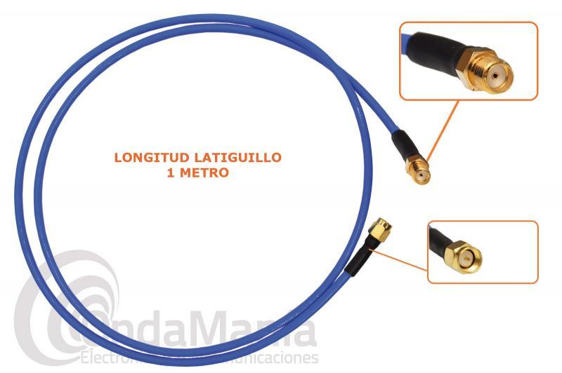 LATIGUILLO SEMI-RIGIDO DE BAJA PERDIDA, CABLE RG-402, 1 METRO, SMA MACHO A SMA HEMBRA DORADOS