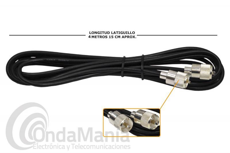LATIGUILLO DE RG-58 CON 4,15 METROS CON 2 CONECTORES PL MACHO PLATEADOS DE BAJA PERDIDA