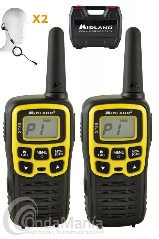PAREJA DE WALKIE TALKIE PMR-446 DE USO LIBRE MIDLAND XT-50 ADVENTURE EDITION TRANSPORTE OUTLET