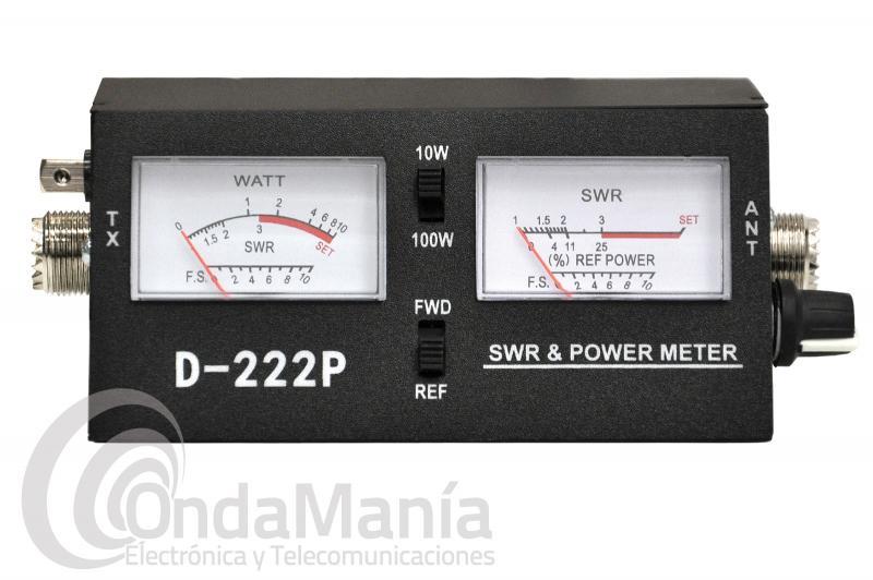 MEDIDOR DE ROE Y WATÍMETRO PARA CB CON DOBLE INSTRUMENTO D-222P - Medidor de ROE (estacionarias) y vatímetro con doble instrumento ideal para banda ciudadana CB-27 Mhz. Rango de frecuencia 3,5 a 150 Mhz.