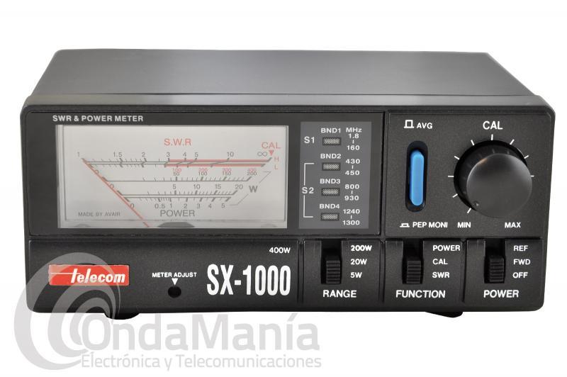 TELECOM SX-1000 MEDIDOR DE ROE Y POTENCIA DE 0,5 A 1300 MHZ CON 2 SENSORES